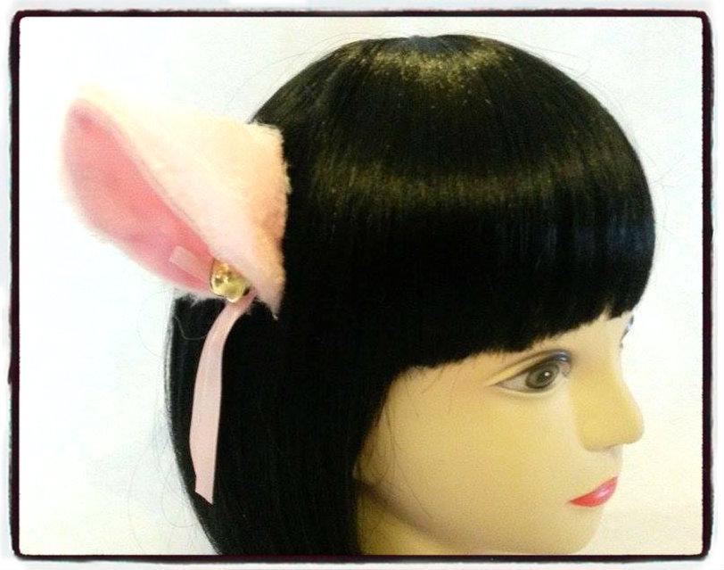 Coppia di orecchie da gatto rosa con clip - Neko cosplay