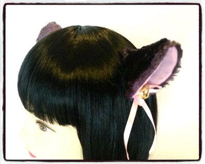 Coppia di orecchie da gatto viola con clip - Neko cosplay