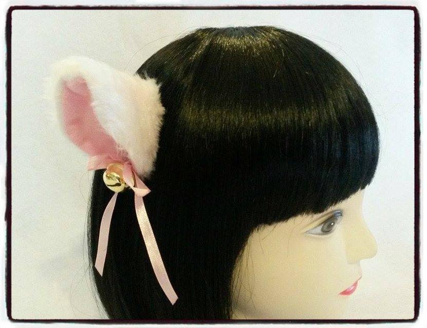 Coppia di orecchie da gatto bianche con clip - Neko cosplay