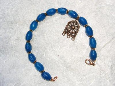 Bracciale in agata azzurra e charm in rame