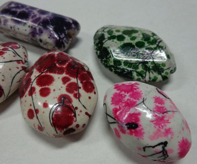 6 Perline in Porcellana Vari Colori