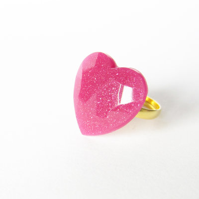 Anello cuore rosa fucsia e glitter
