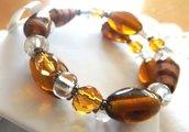 Bracciale montato su molla armonica a due giri con perline e pietre di vetro idea regalo per lei