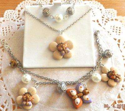 Parure collana e bracciale con fiori e farfalle in fimo idea regalo per lei