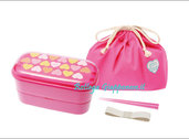 Bento lunchbox set cuori rosa