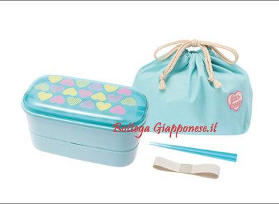 Bento lunchbox set cuori azzurro