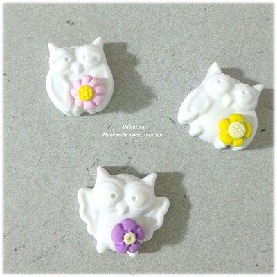 Gessetti gessi gufo fiori- segnaposto bomboniera battesimo