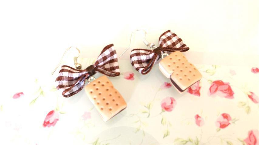 NOVITA PRIMAVERA ESTATE - PAIO ORECCHINI FIMO - GELATO BISCOTTO farcito alla vaniglia e cioccolato
