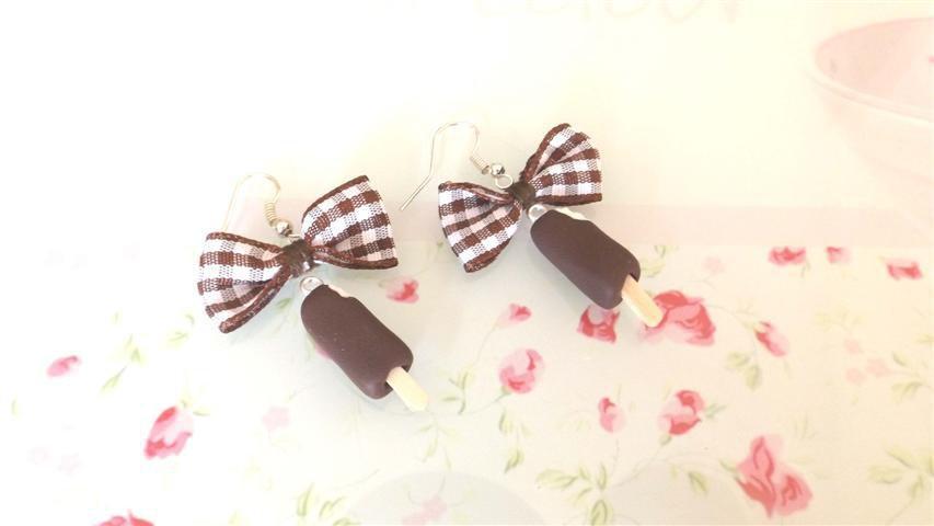NOVITA PRIMAVERA ESTATE - PAIO ORECCHINI FIMO - GELATO a STECCO - vaniglia ricoperto di cioccolato