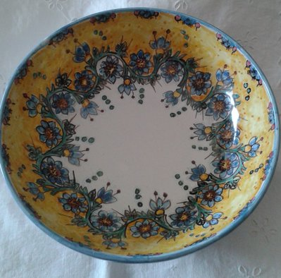 Ciotola / Spaghettiera / Insalatiera in ceramica dipinta a mano. Dec. Floris