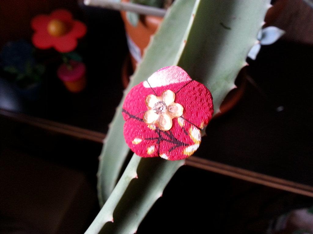 Anello Fiore Ume rosso