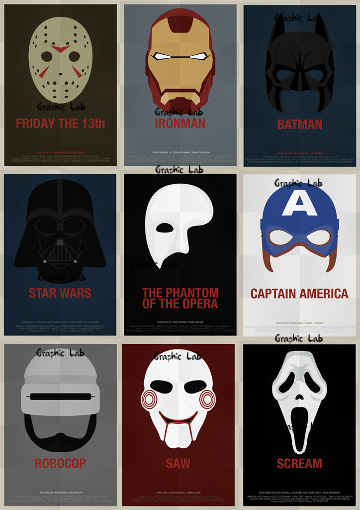 Vintage Poster Marvel Superheroes Captain America, Iron Man, Batman, Star Wars, Robocop, Saw, Scream