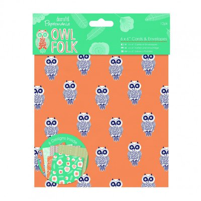 Set 12 biglietti 15x15 cm - Owl Folk