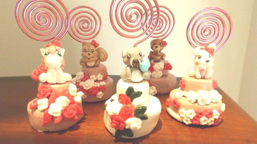BOMBONIERA SEGNAPOSTO BATTESIMO NASCITA - una a scelta - mini cake fimo - anche confezionate