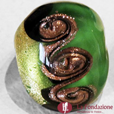 Tre vortici oro - Anelli in vetro di Murano