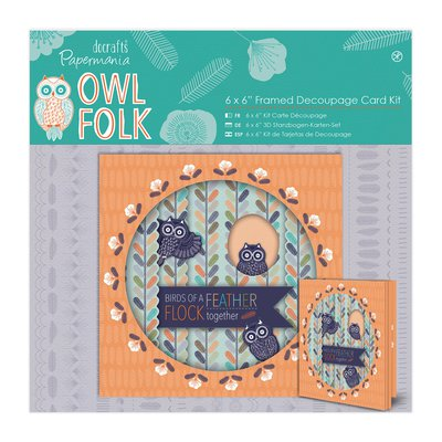 Framed Decoupage Card Kit - Owl Folk