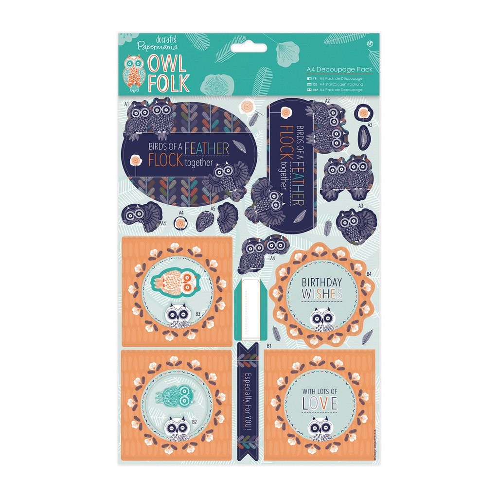 A4 Decoupage Pack - Owl Folk