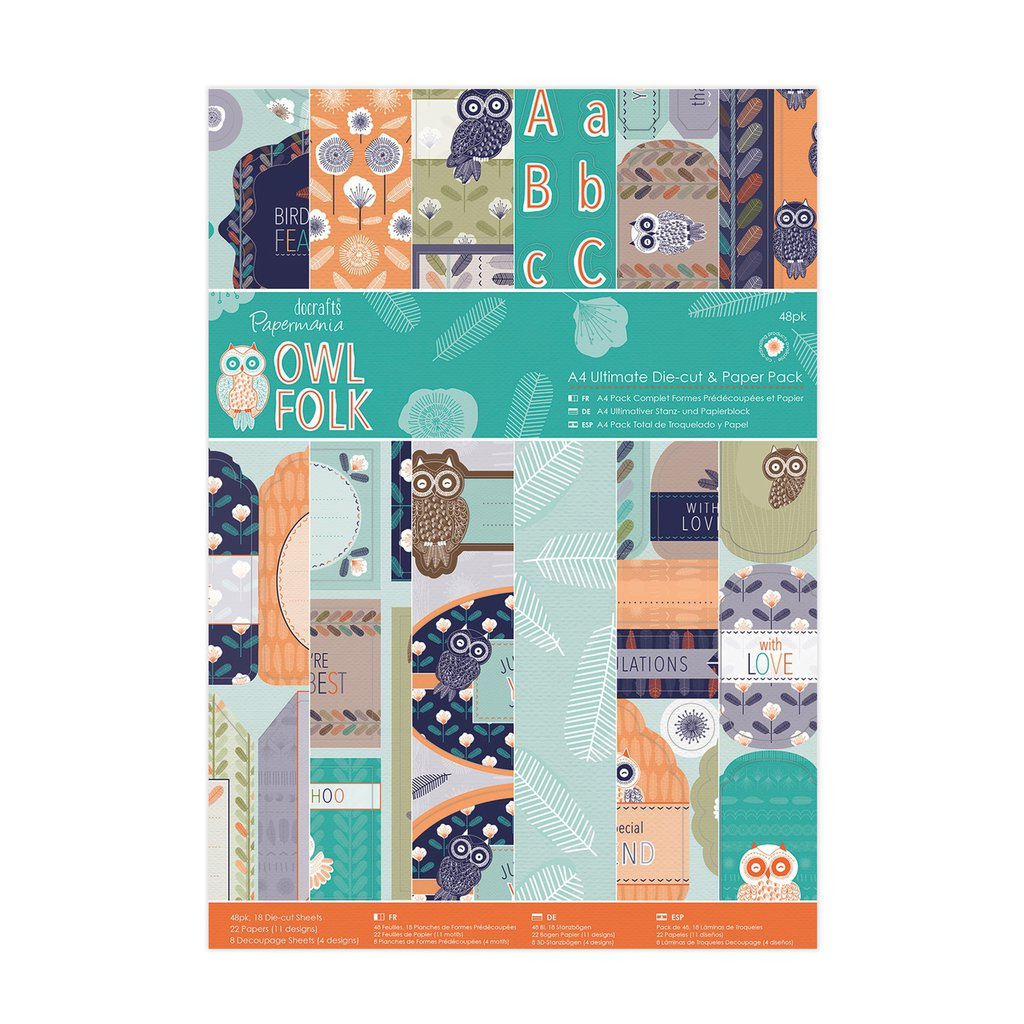 A4 Die-cut & Paper Pack - Owl Folk