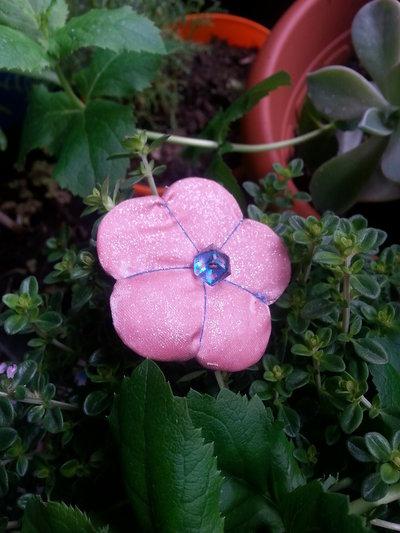 Spilla fiore Ume rosa glitter