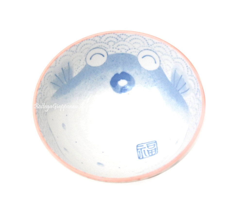 Ciotola decorata pesce palla rosa