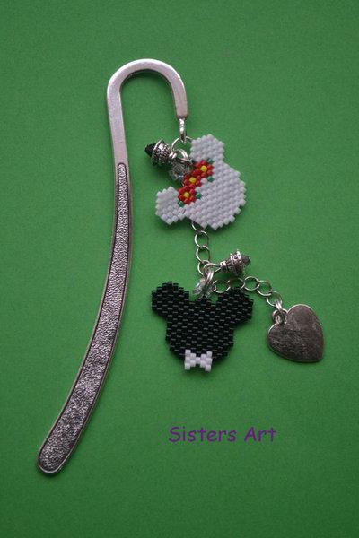 """Segnalibro """"Topolino e Minnie"""" con ciondoli realizzati con perline Miyuki delica"""