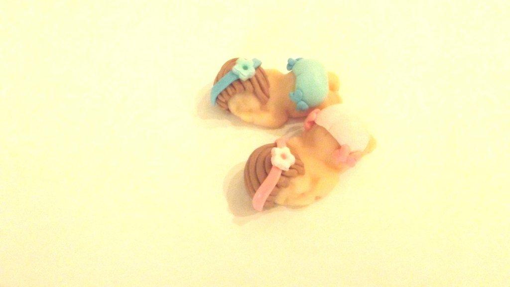 BOMBONIERA BATTESIMO NASCITA - fimo - bimbo bimba con panty - bebè