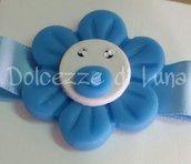 Fiore con ciuccio , soggetto nascita per sacchettini o scatoline porta confetti fatto a mano 4 cm