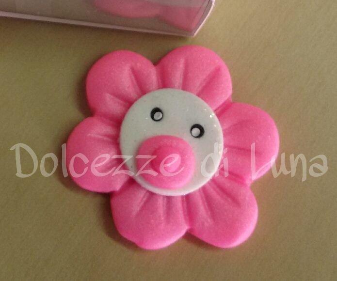 Top Fiore con ciuccio rosa , soggetto nascita per sacchettini o  QG12