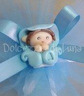 Folletto azzurro , soggetto nascita per sacchettini o scatoline porta confetti fatto a mano 3 cm circa