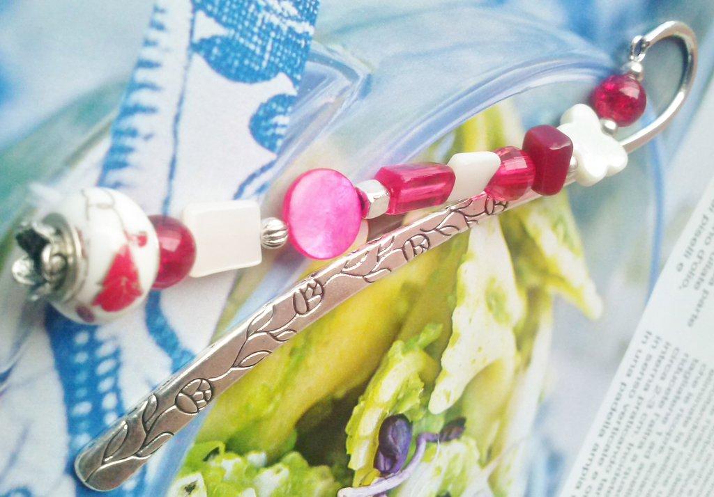 Segnalibro In Argento Tibetano Madreperla ciondolo porcellana - Tonalità Rosso e bianco
