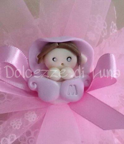 Folletto rosa, soggetto nascita per sacchettini o scatoline porta confetti fatto a mano 3 cm circa