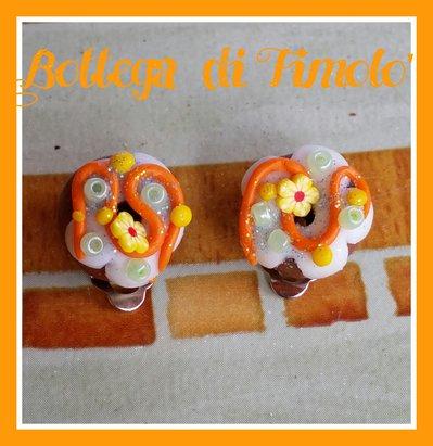 orecchini a clip con donuts