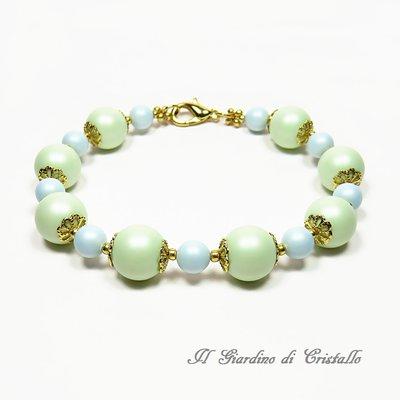 Bracciale con perle Swarovski verdi e azzurre pastello fatto a mano – Ortensia