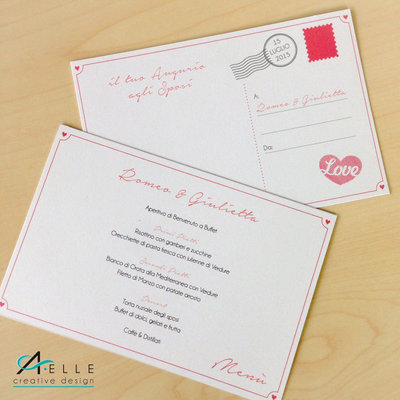 Wedding Menù Cartolina