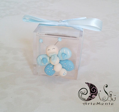 Portaconfetti plexiglass bomboniere battesimo farfalla