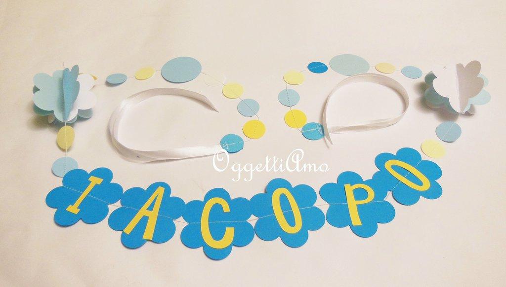 Iacopo: ghirlanda di carta con il nome del tuo bambino per il suo compleanno.