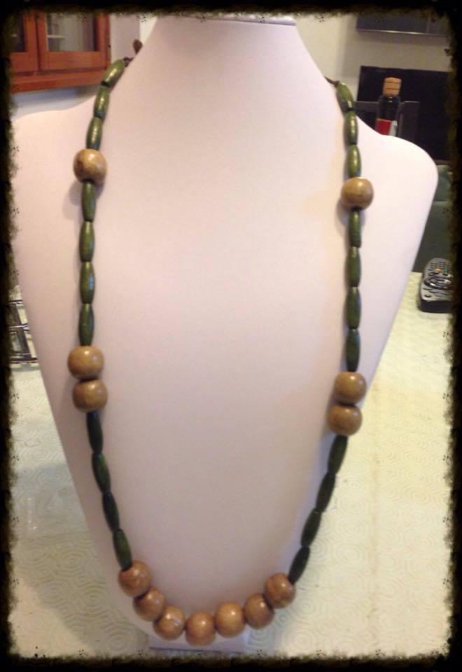 Collana in legno grigio/verde Extralong