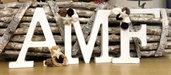 Lettere di legno, decorate a mano, con tessuto