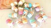 NOVITA PRIMAVERA ESTATE - colori pastello FIMO - UN CIONDOLO A SCELTA CUP CAKES con panna - cialdina
