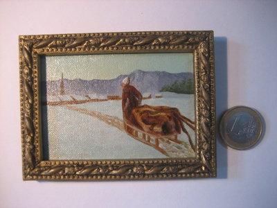 Miniatura in scala 1:12 dipinta a mano ad olio su tela