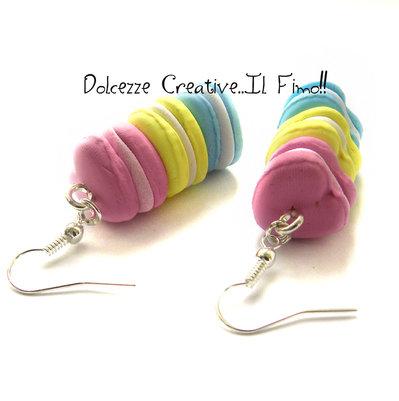 Orecchini Macarons - cuore- Pastel goth - miniature - color pastello