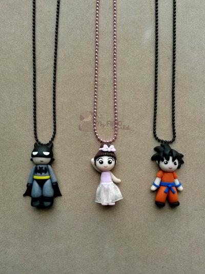 Collana con Batman, ballerina e Goku fimo