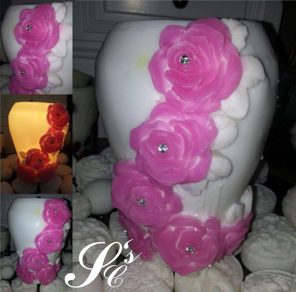 Vaso in cera Rosa - Wax ornamental vase