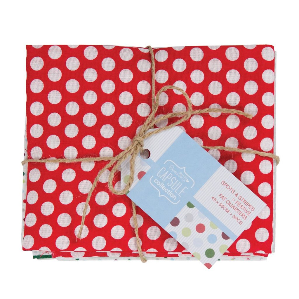 Set 5 Fat Quarters - Spots & Stripes Festive