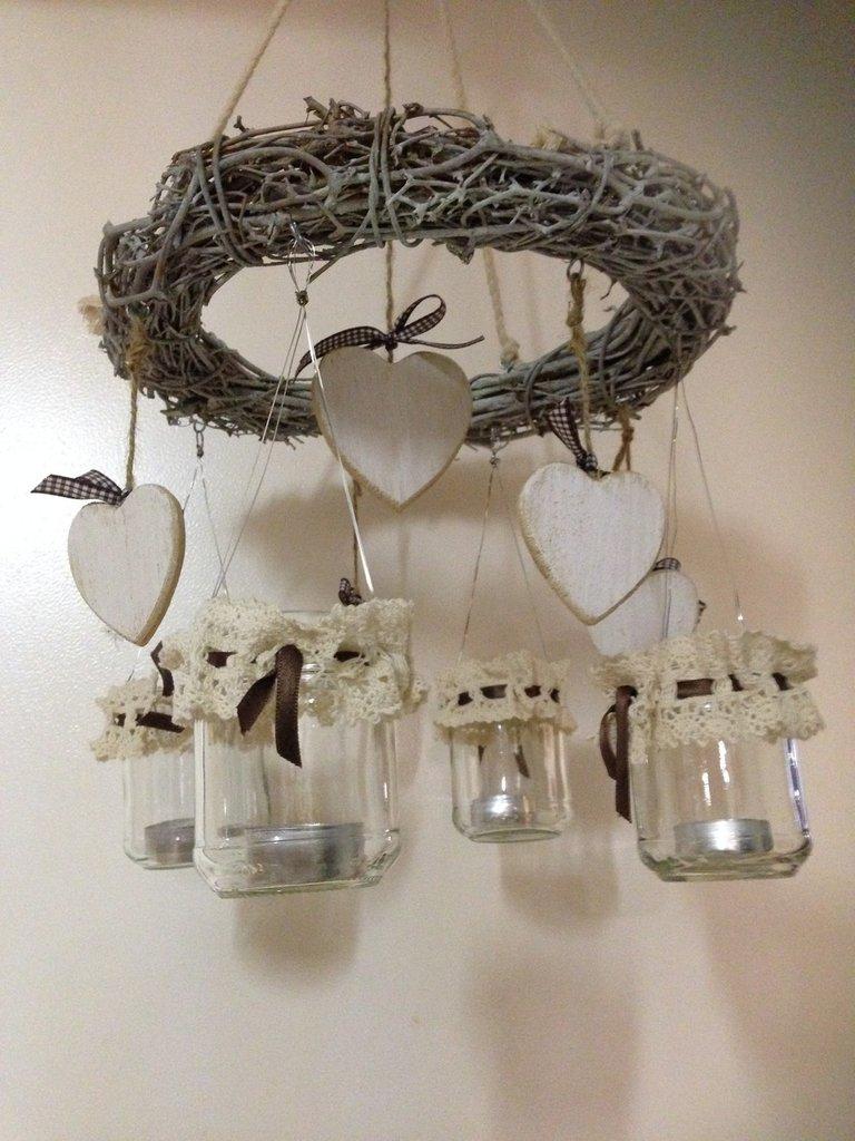 Lanterna o portacandele con ghirlanda per la casa e per - Lanterne portacandele ...