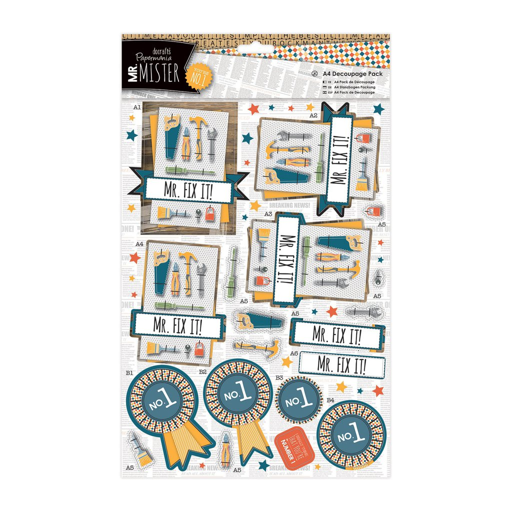 A4 Decoupage Pack - Mr Mister