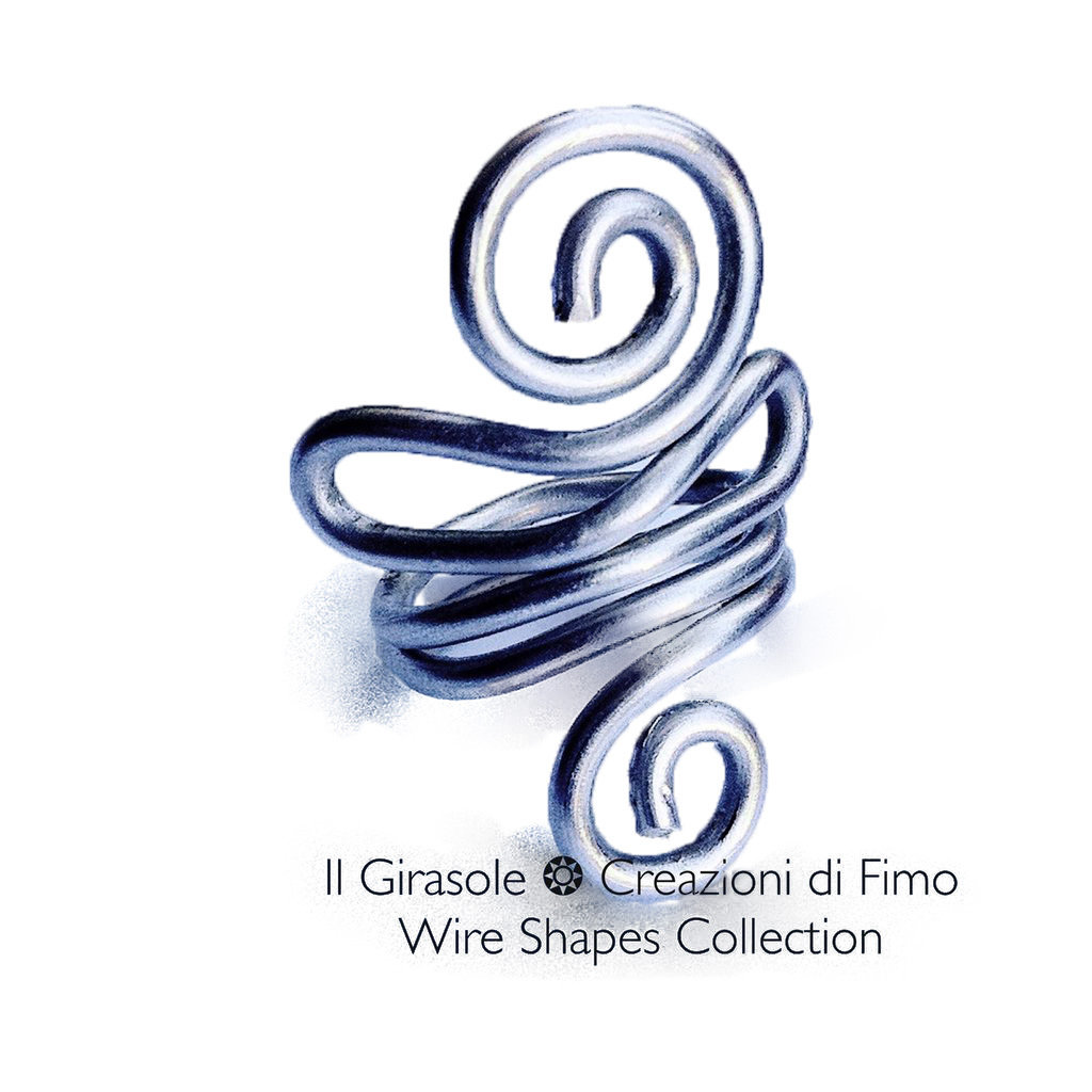 Anello in Alluminio Argento Curve e Spirali: Wire Shapes Collection