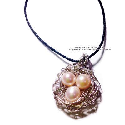 Collana con ciondolo con Nido in Wire e perle