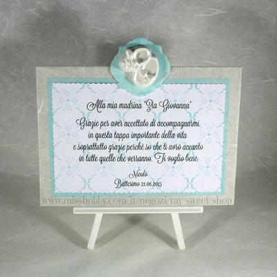 Targhetta con scarpette versione verde tiffany - regalo bomboniera madrina padrino Battesimo