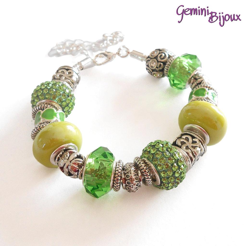 Bracciale Snake con perle a foro largo Verde